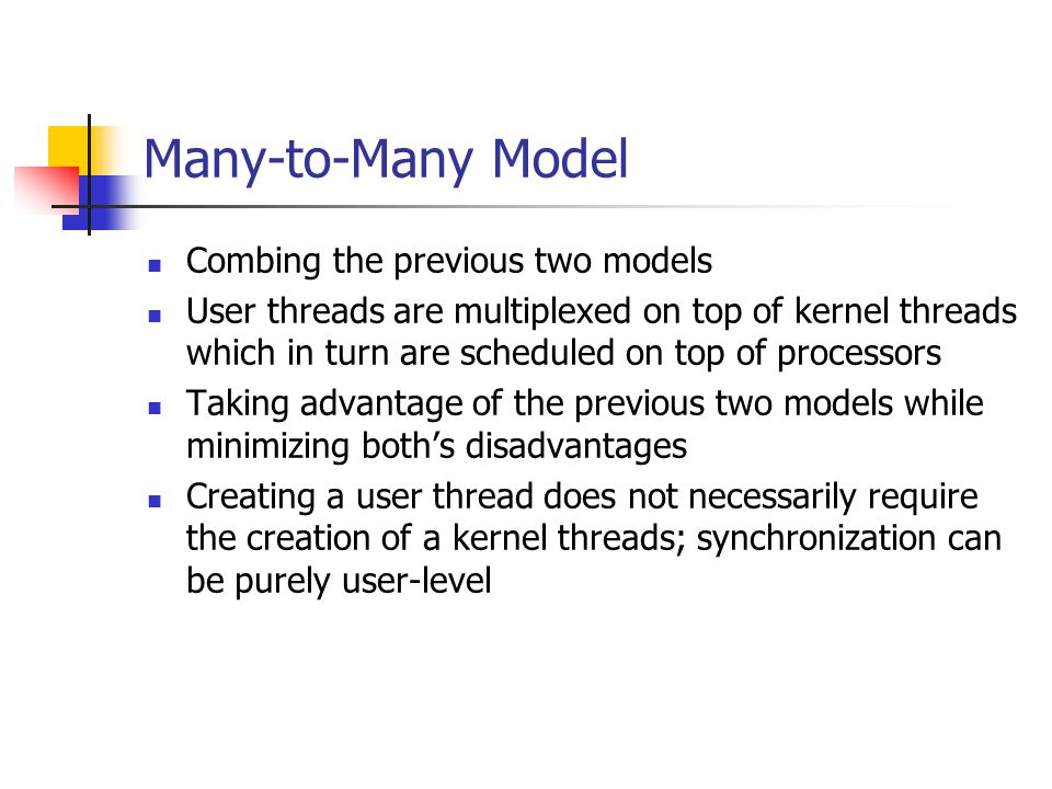 Many-to-Many Model Combing the previous two models User threads are multiplexed on top of kernel threads which in turn are scheduled on top of processors Taking advantage of the previous two models while minimizing both's disadvantages Creating a user thread does not necessarily require the creation of a kernel threads; synchronization can be purely user-level