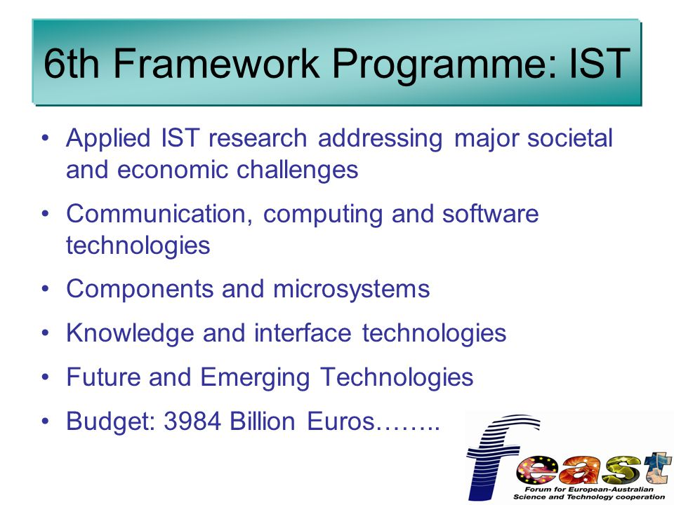 6th Framework Programme: IST Applied IST research addressing major societal and economic challenges Communication, computing and software technologies Components and microsystems Knowledge and interface technologies Future and Emerging Technologies Budget: 3984 Billion Euros……..