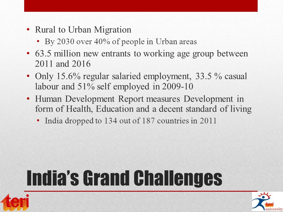 India's Grand Challenges Rural to Urban Migration By 2030 over 40% of people in Urban areas 63.5 million new entrants to working age group between 2011 and 2016 Only 15.6% regular salaried employment, 33.5 % casual labour and 51% self employed in 2009-10 Human Development Report measures Development in form of Health, Education and a decent standard of living India dropped to 134 out of 187 countries in 2011