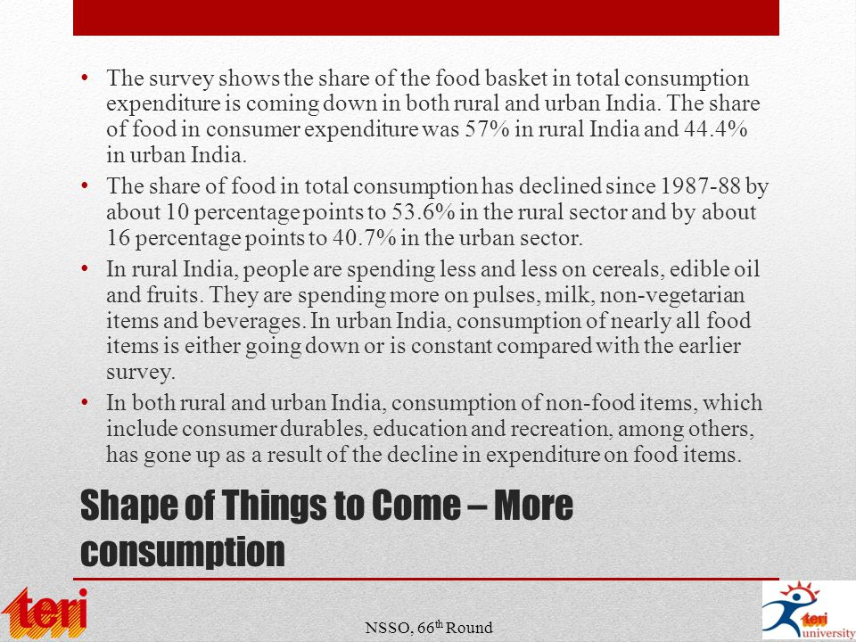 Shape of Things to Come – More consumption The survey shows the share of the food basket in total consumption expenditure is coming down in both rural and urban India.