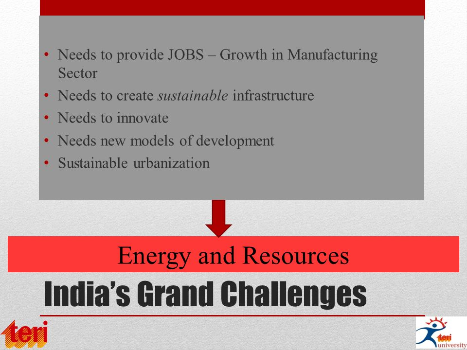 India's Grand Challenges Needs to provide JOBS – Growth in Manufacturing Sector Needs to create sustainable infrastructure Needs to innovate Needs new models of development Sustainable urbanization Energy and Resources
