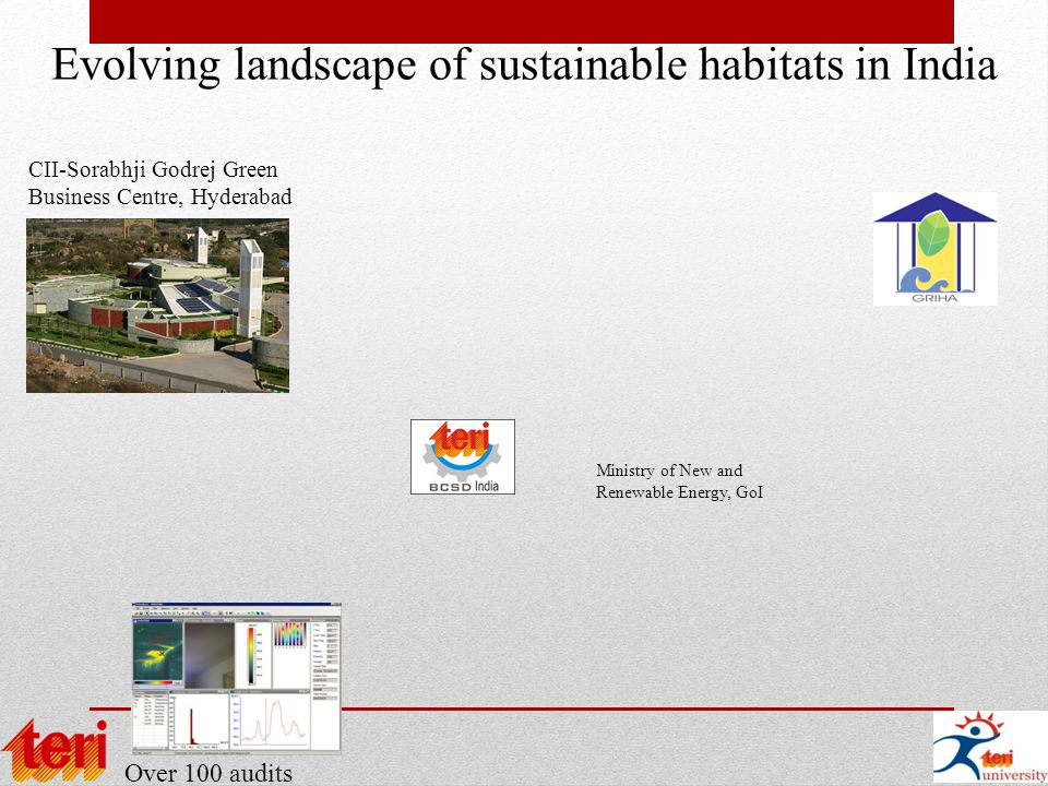 Evolving landscape of sustainable habitats in India Over 100 audits CII-Sorabhji Godrej Green Business Centre, Hyderabad Ministry of New and Renewable Energy, GoI