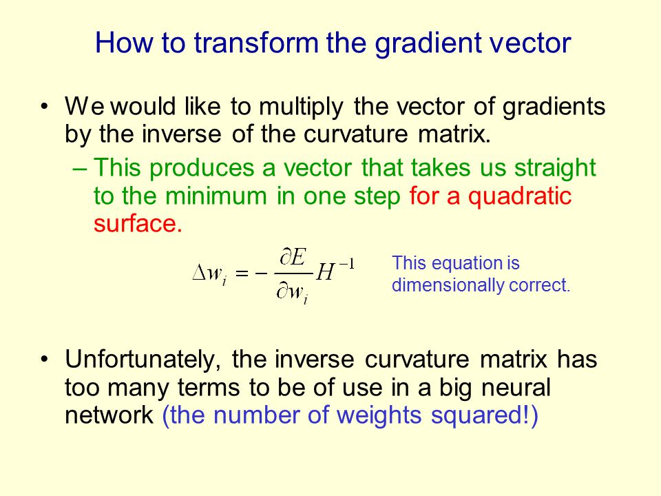 How to transform the gradient vector We would like to multiply the vector of gradients by the inverse of the curvature matrix.