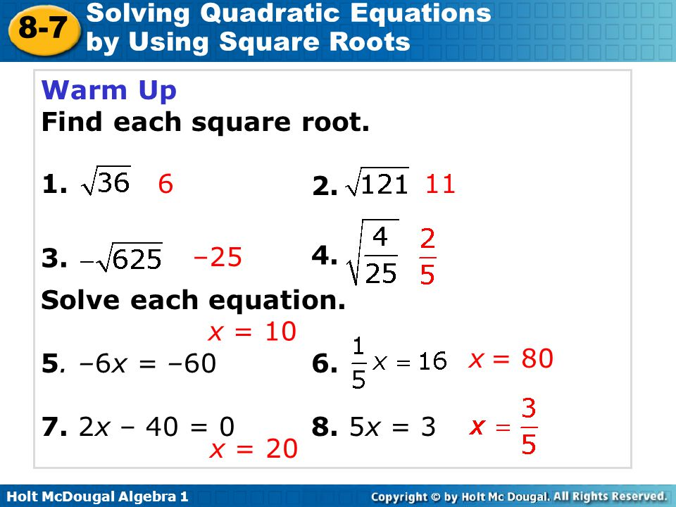 Solving Quadratic Equations By Finding Square Roots Worksheet – Simplifying Square Roots with Variables Worksheet