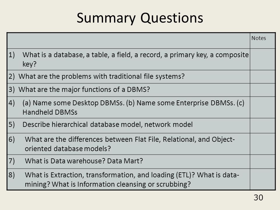 30 Summary Questions Notes 1)What is a database, a table, a field, a record, a primary key, a composite key? 2) What are the problems with traditional