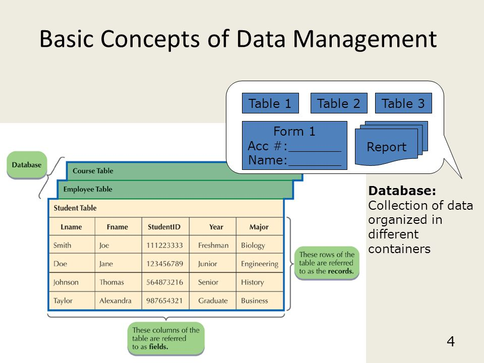4 Basic Concepts of Data Management Database: Collection of data organized in different containers Table 1Table 2Table 3 Report Form 1 Acc #:_______ N