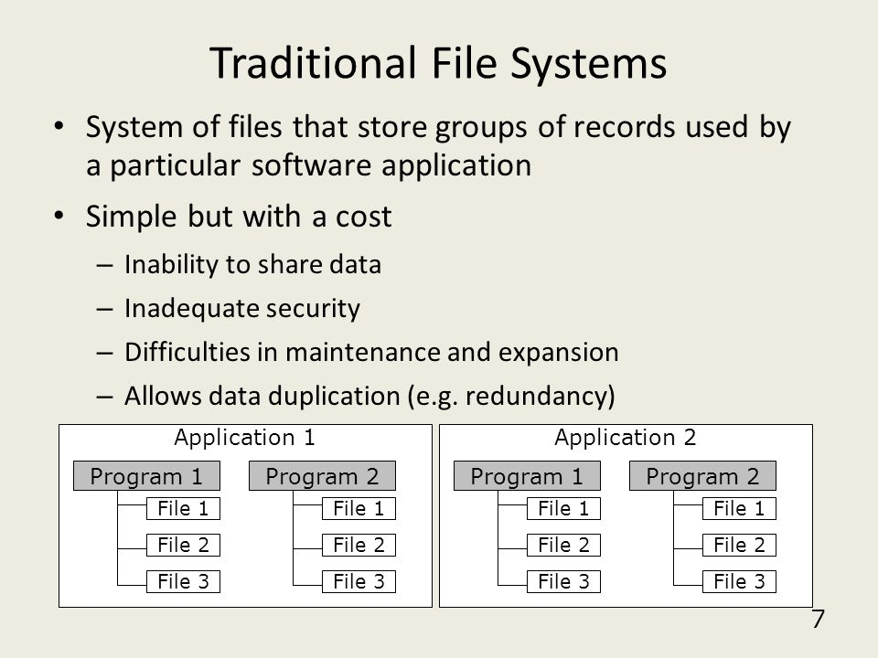 7 Traditional File Systems System of files that store groups of records used by a particular software application Simple but with a cost – Inability t