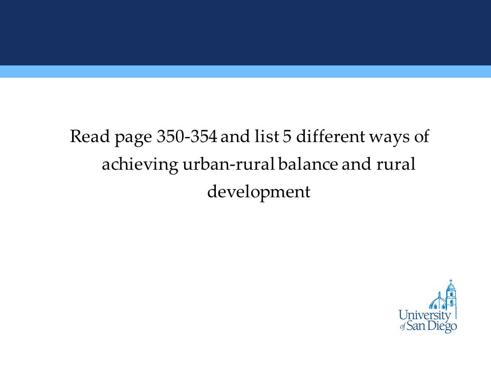 Read page and list 5 different ways of achieving urban-rural balance and rural development