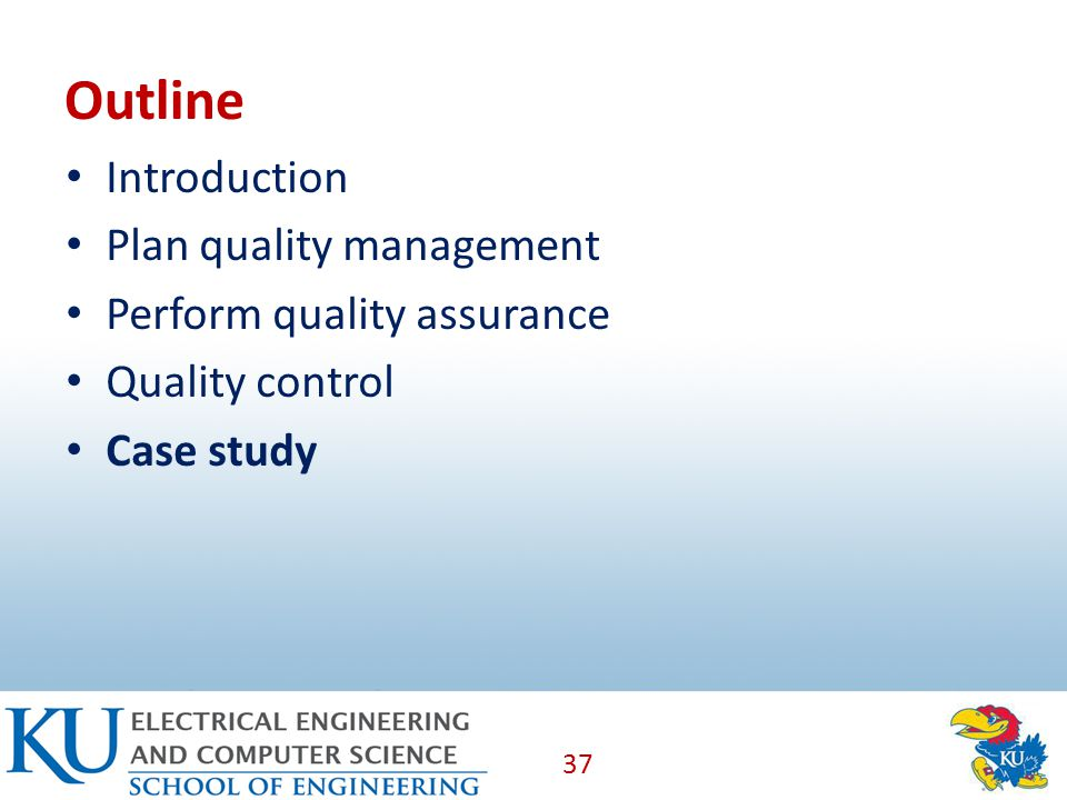 Outline Introduction Plan quality management Perform quality assurance Quality control Case study 37