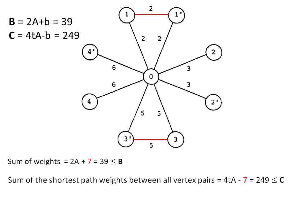 B = 2A+b = 39 C = 4tA-b = 249