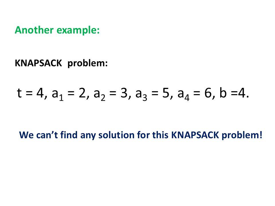 KNAPSACK problem: t = 4, a 1 = 2, a 2 = 3, a 3 = 5, a 4 = 6, b =4.