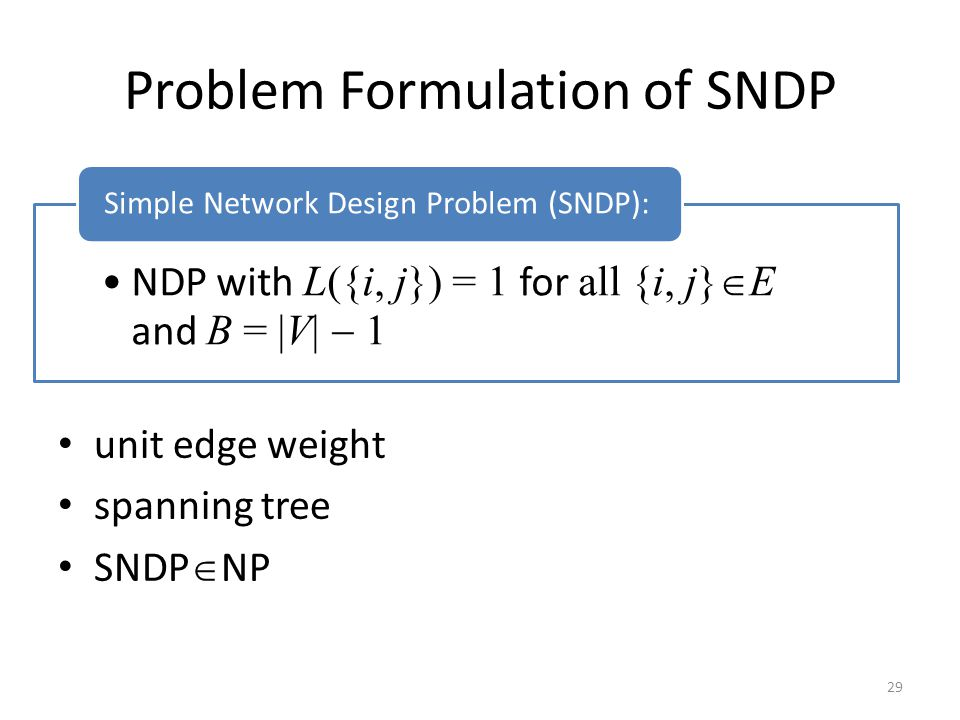 Problem Formulation of SNDP unit edge weight spanning tree SNDP  NP 29 NDP with L({i, j}) = 1 for all {i, j}  E and B =  V   1 Simple Network Design Problem (SNDP):