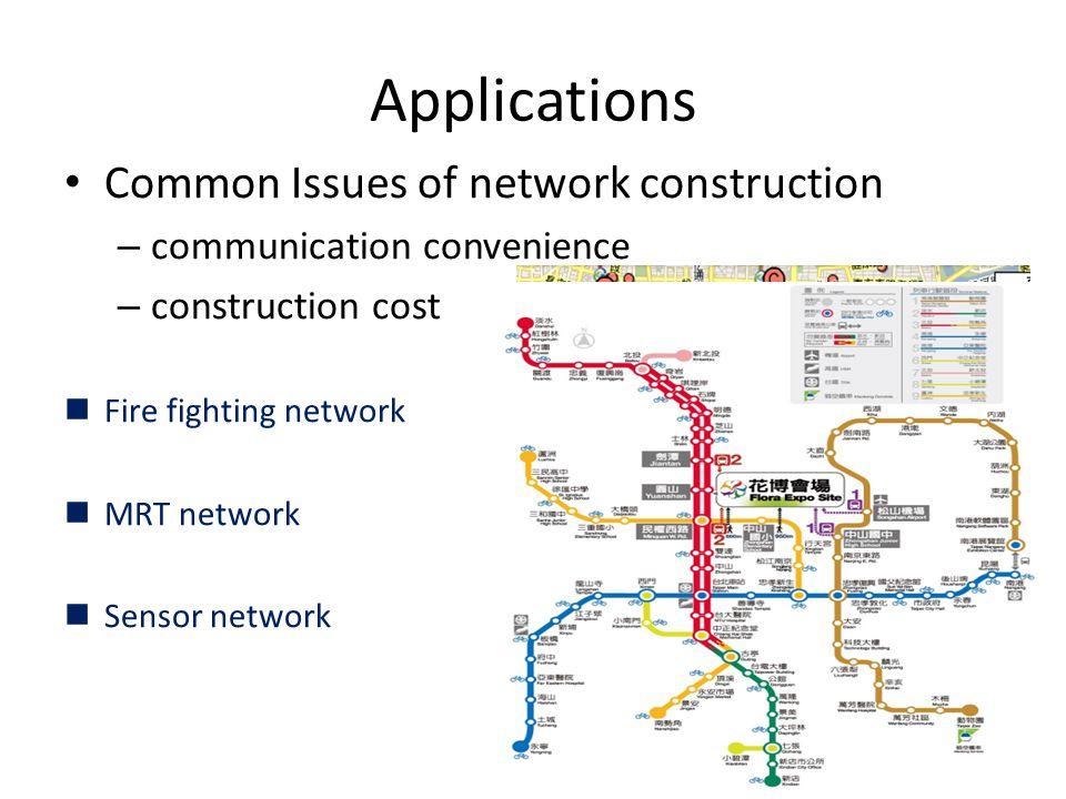 Applications Common Issues of network construction – communication convenience – construction cost Fire fighting network MRT network Sensor network 43