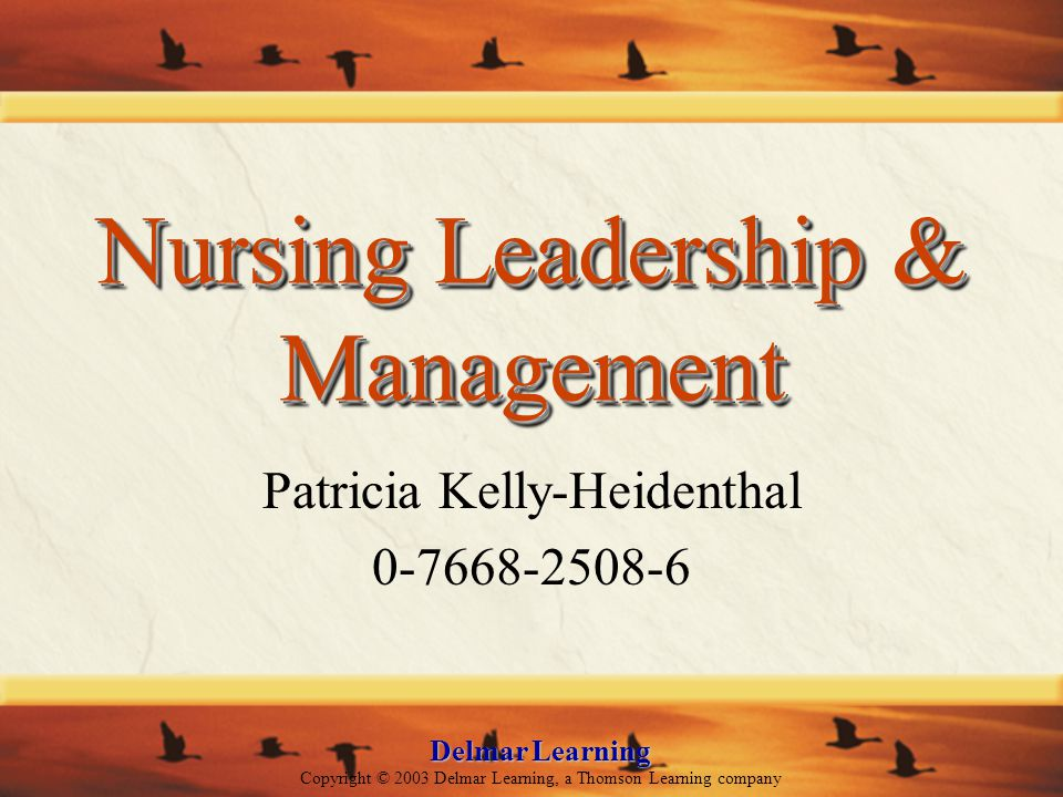 Delmar Learning Copyright © 2003 Delmar Learning, a Thomson Learning company Nursing Leadership & Management Patricia Kelly-Heidenthal