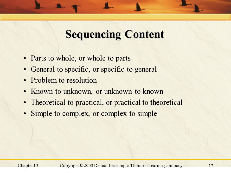 Chapter 15Copyright © 2003 Delmar Learning, a Thomson Learning company17 Sequencing Content Parts to whole, or whole to parts General to specific, or specific to general Problem to resolution Known to unknown, or unknown to known Theoretical to practical, or practical to theoretical Simple to complex, or complex to simple