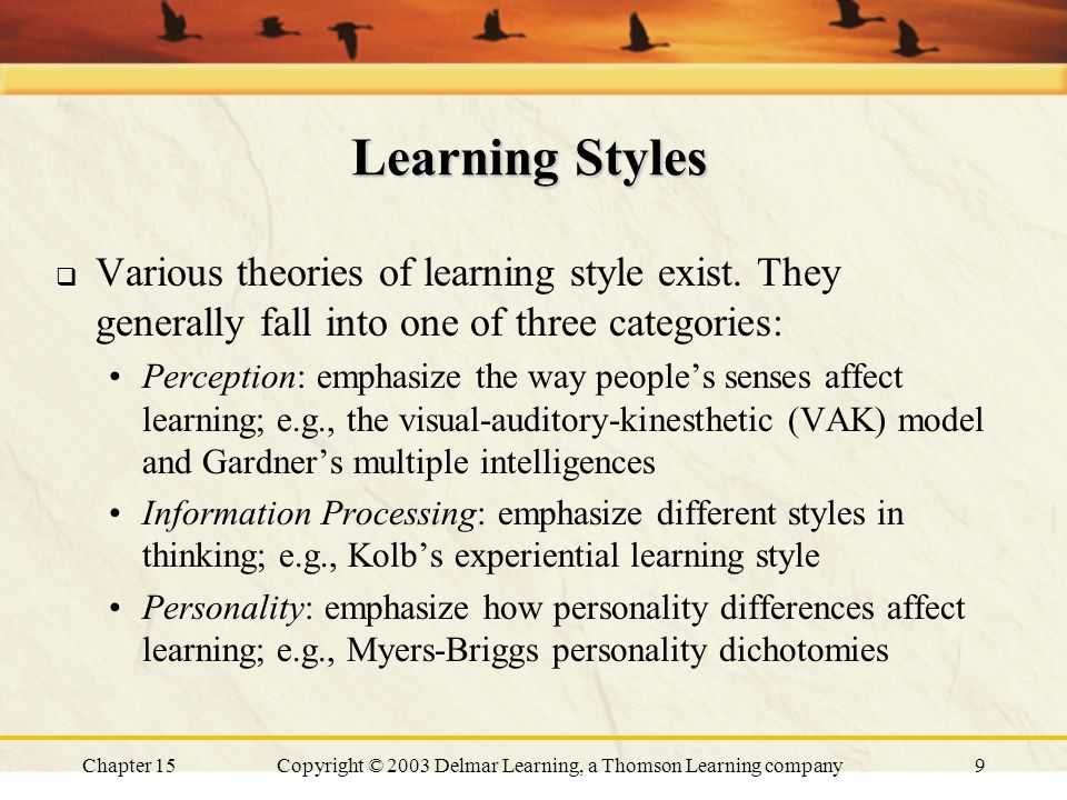 Chapter 15Copyright © 2003 Delmar Learning, a Thomson Learning company9 Learning Styles  Various theories of learning style exist.