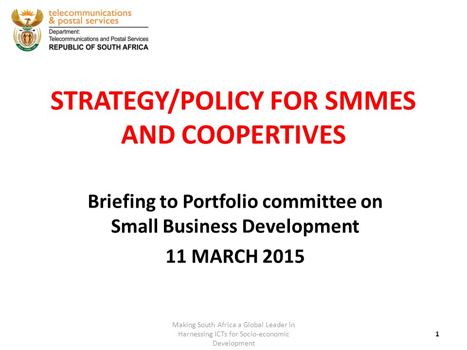 STRATEGY/POLICY FOR SMMES AND COOPERTIVES Briefing to Portfolio committee on Small Business Development 11 MARCH Making South Africa a Global Leader in Harnessing ICTs for Socio-economic Development