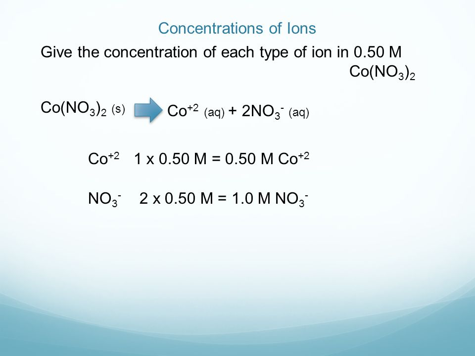Concentrations of Ions Give the concentration of each type of ion in 0.50 M Co(NO 3 ) 2 Co(NO 3 ) 2 (s) Co +2 (aq) + 2NO 3 - (aq) Co +2 1 x 0.50 M = 0.50 M Co +2 NO x 0.50 M = 1.0 M NO 3 -