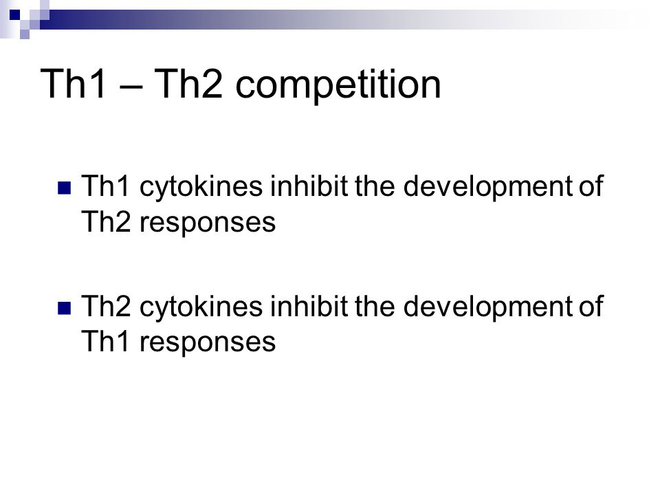 Th1 – Th2 competition Th1 cytokines inhibit the development of Th2 responses Th2 cytokines inhibit the development of Th1 responses Th3