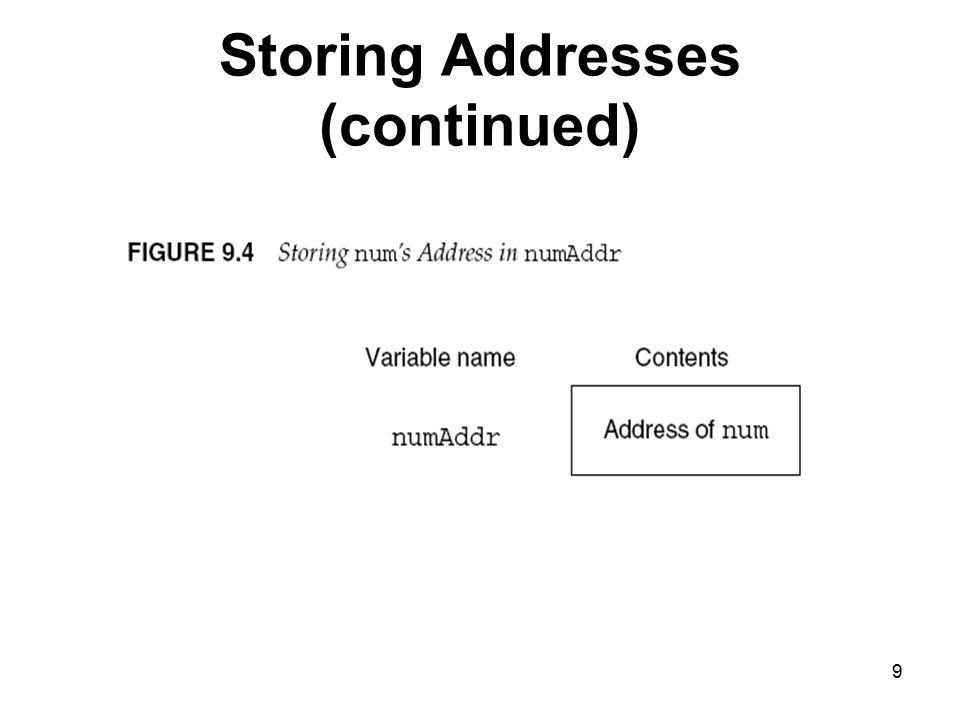 9 Storing Addresses (continued)