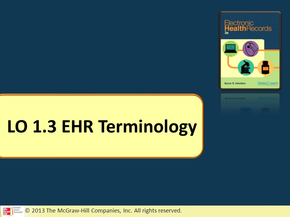 © 2013 The McGraw-Hill Companies, Inc. All rights reserved. LO 1.3 EHR Terminology