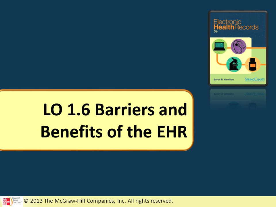 © 2013 The McGraw-Hill Companies, Inc. All rights reserved. LO 1.6 Barriers and Benefits of the EHR