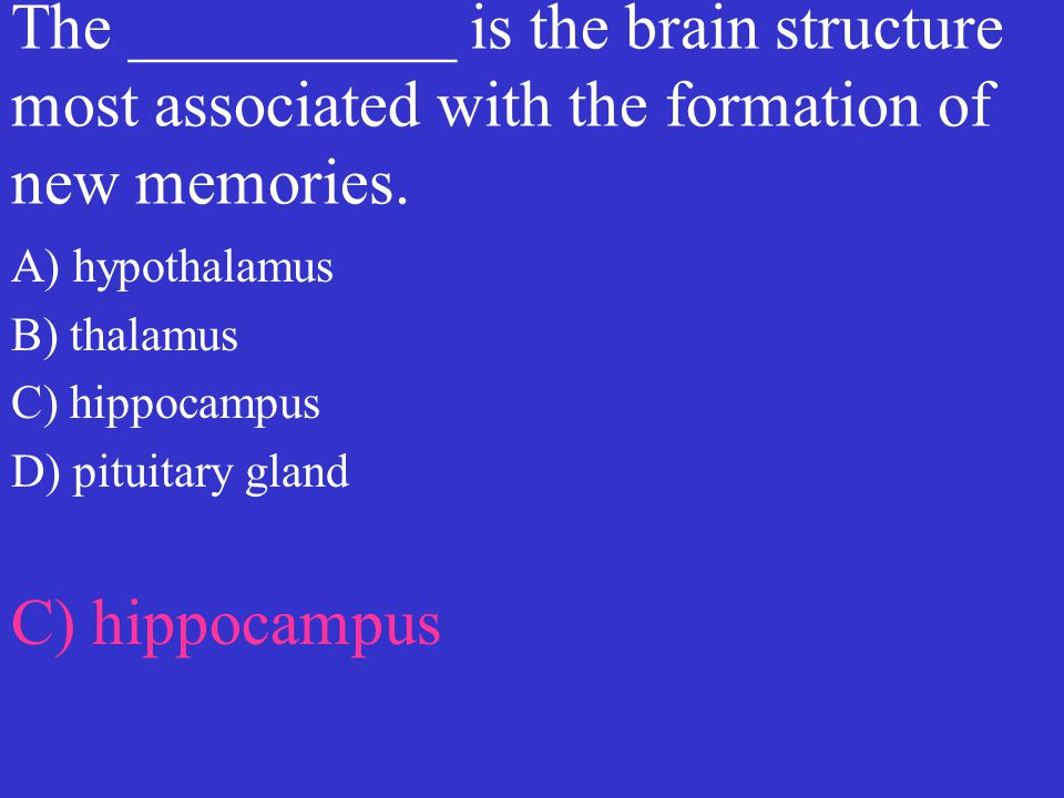 The __________ is the brain structure most associated with the formation of new memories. A) hypothalamus B) thalamus C) hippocampus D) pituitary glan