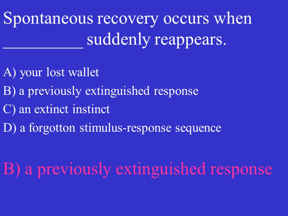 Spontaneous recovery occurs when _________ suddenly reappears. A) your lost wallet B) a previously extinguished response C) an extinct instinct D) a f