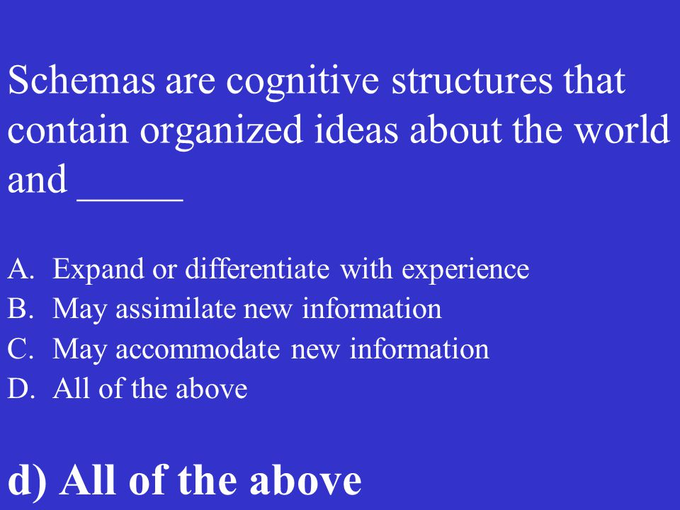 Schemas are cognitive structures that contain organized ideas about the world and _____ A.Expand or differentiate with experience B.May assimilate new
