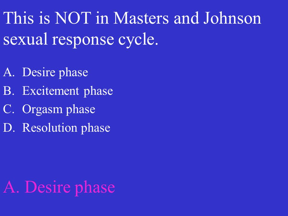 This is NOT in Masters and Johnson sexual response cycle. A.Desire phase B.Excitement phase C.Orgasm phase D.Resolution phase A. Desire phase