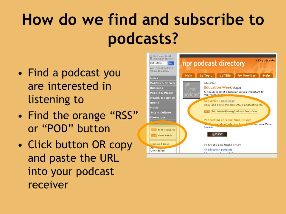 How do we find and subscribe to podcasts.