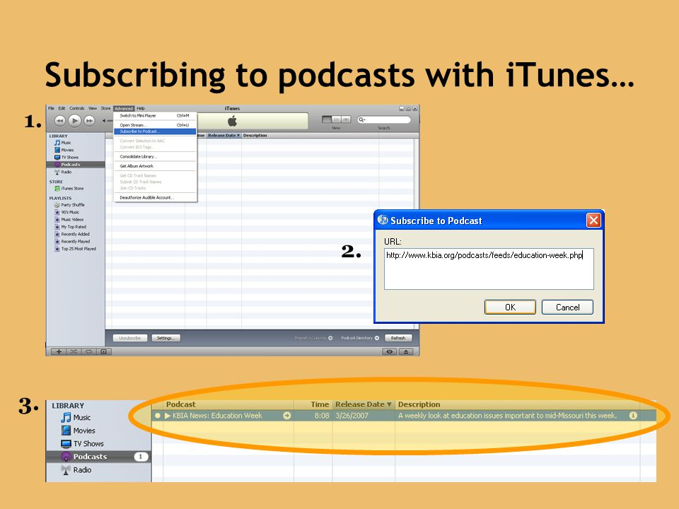 Subscribing to podcasts with iTunes…