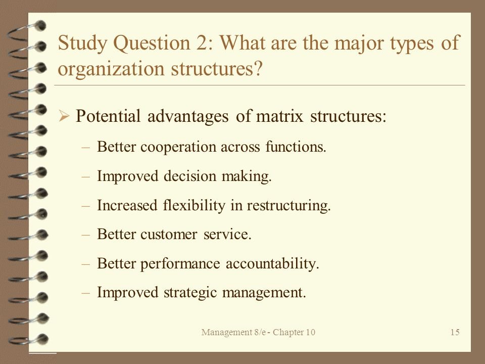 Management 8/e - Chapter 1015 Study Question 2: What are the major types of organization structures.