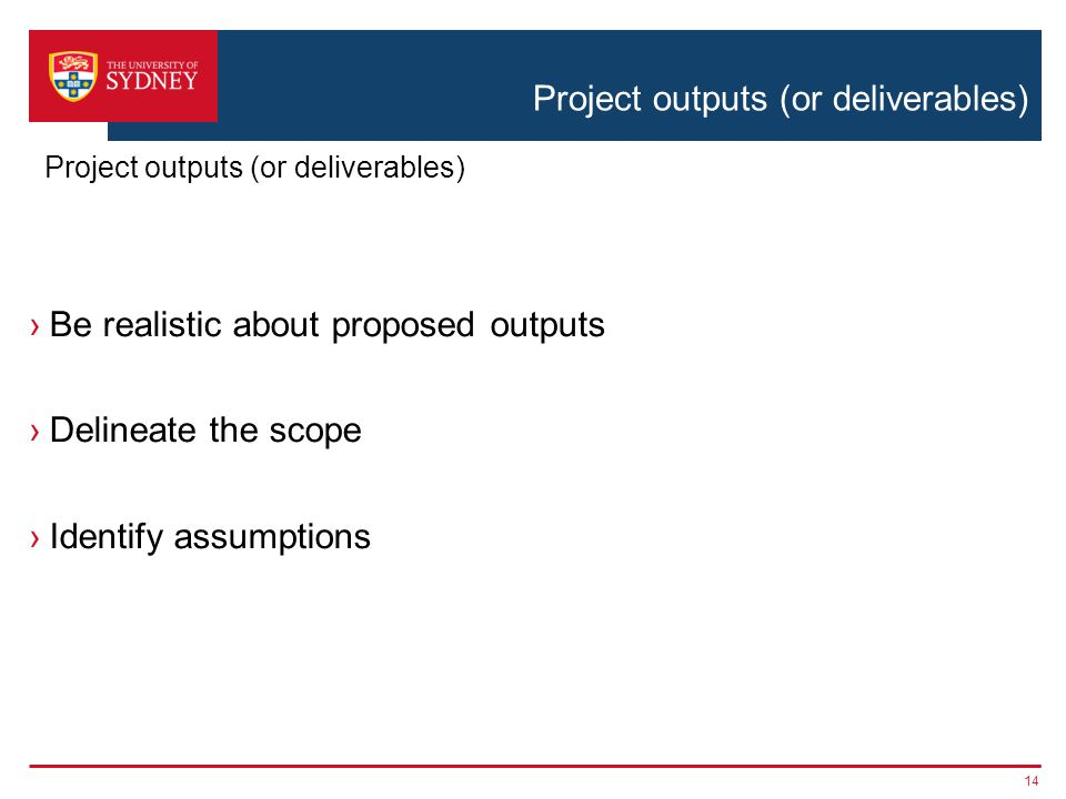 Project outputs (or deliverables) ›Be realistic about proposed outputs ›Delineate the scope ›Identify assumptions 14 Project outputs (or deliverables)