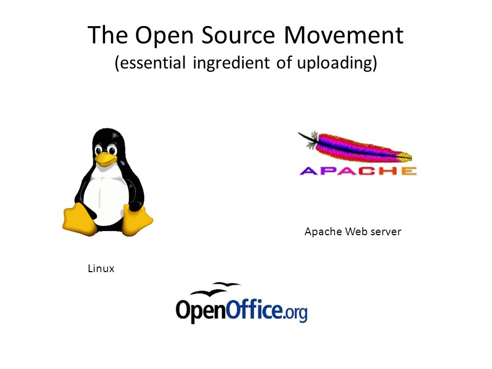 The Open Source Movement (essential ingredient of uploading) Linux Apache Web server