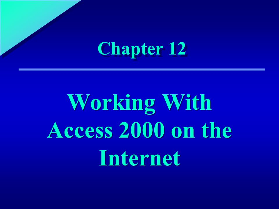 1 Chapter 12 Working With Access 2000 on the Internet