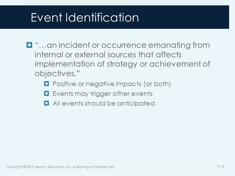 Event Identification  …an incident or occurrence emanating from internal or external sources that affects implementation of strategy or achievement of objectives.  Positive or negative impacts (or both)  Events may trigger other events  All events should be anticipated Copyright © 2012 Pearson Education, Inc.