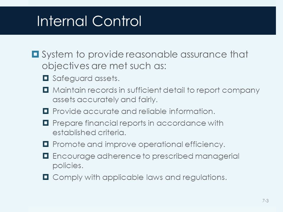 Internal Control  System to provide reasonable assurance that objectives are met such as:  Safeguard assets.