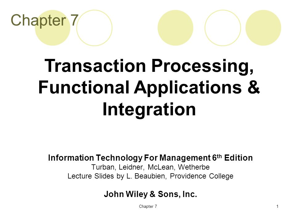 Chapter 71 Information Technology For Management 6 th Edition Turban, Leidner, McLean, Wetherbe Lecture Slides by L.