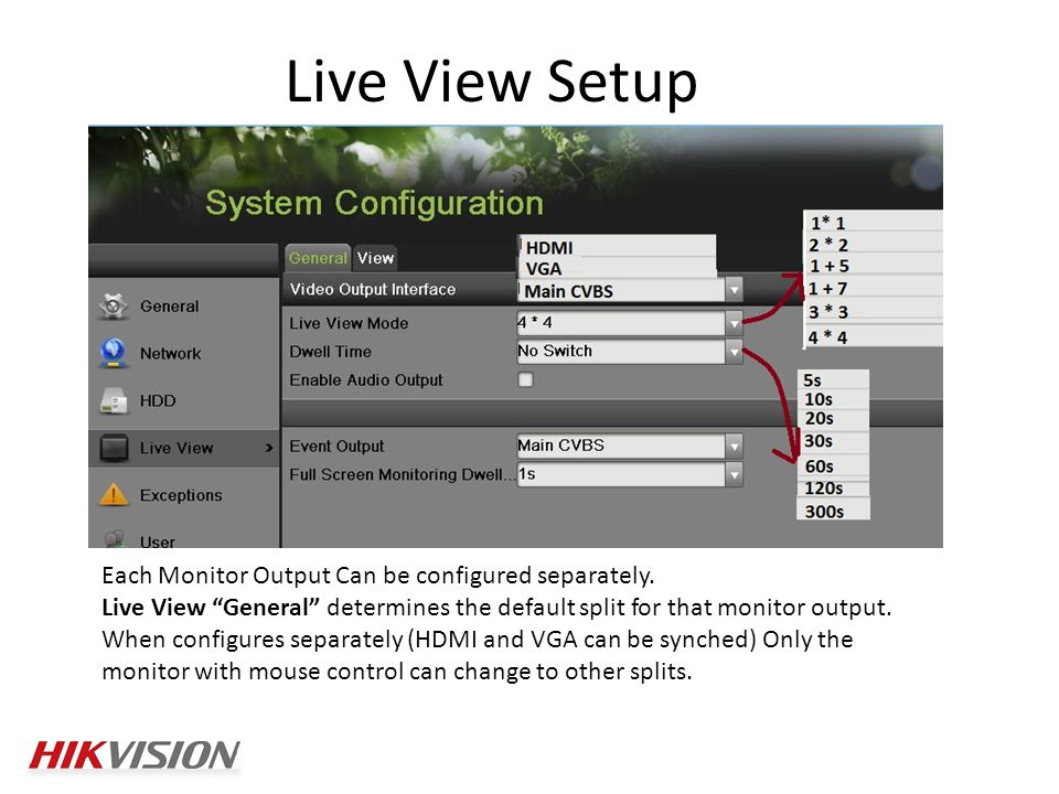 Live View Setup Each Monitor Output Can be configured separately.