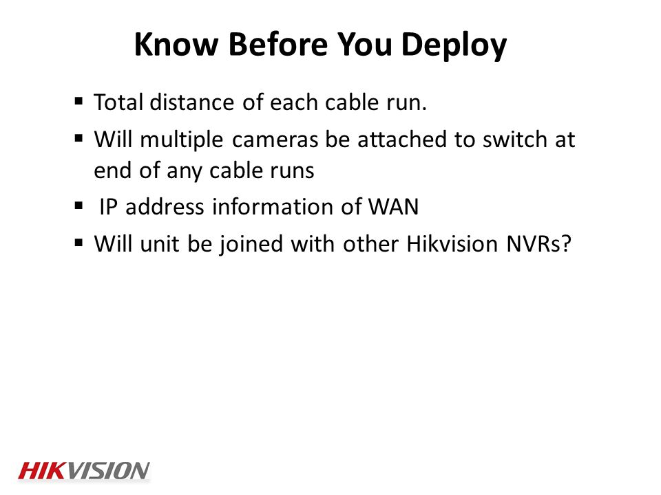 Total distance of each cable run.