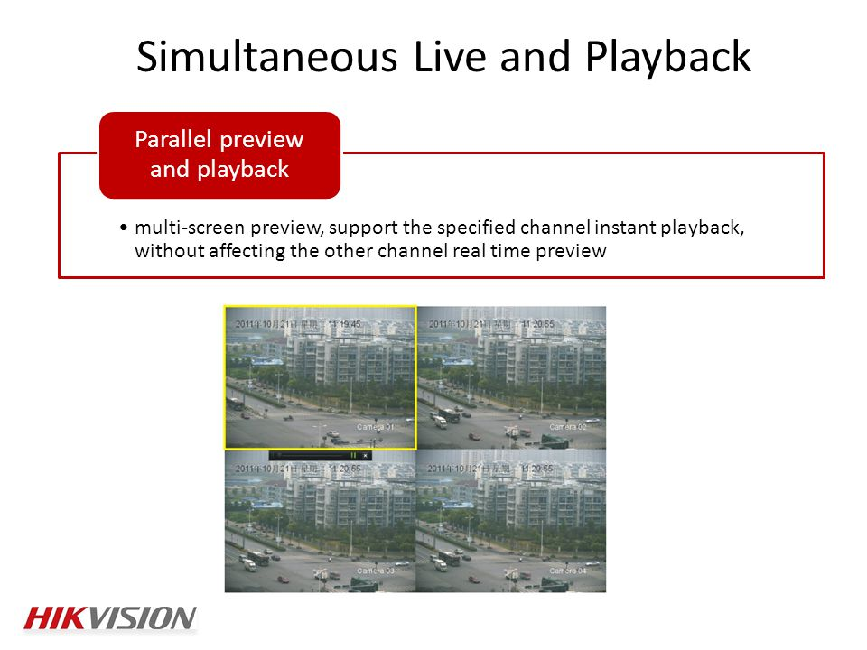 Simultaneous Live and Playback multi-screen preview, support the specified channel instant playback, without affecting the other channel real time preview Parallel preview and playback