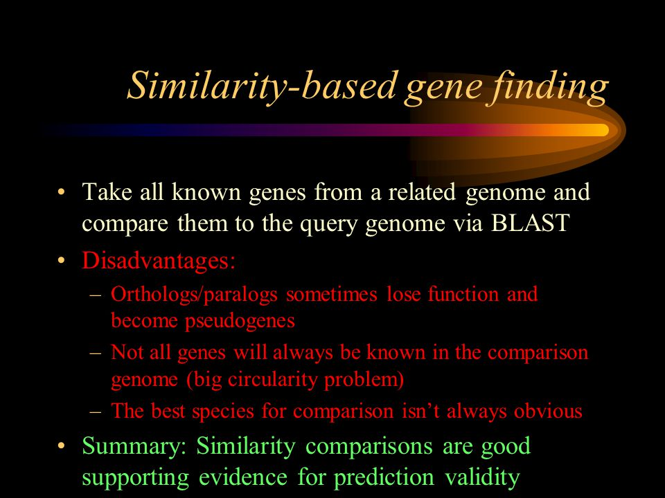 Similarity-based gene finding Take all known genes from a related genome and compare them to the query genome via BLAST Disadvantages: –Orthologs/paralogs sometimes lose function and become pseudogenes –Not all genes will always be known in the comparison genome (big circularity problem) –The best species for comparison isn't always obvious Summary: Similarity comparisons are good supporting evidence for prediction validity