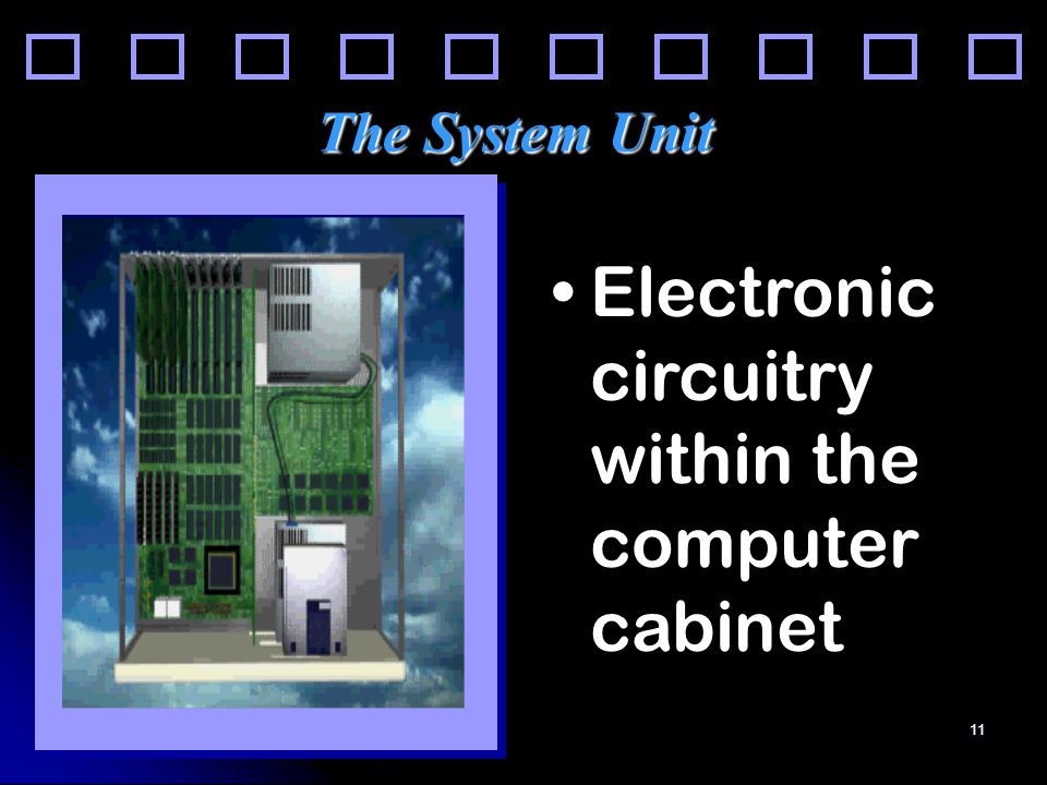 11 The System Unit Electronic circuitry within the computer cabinet