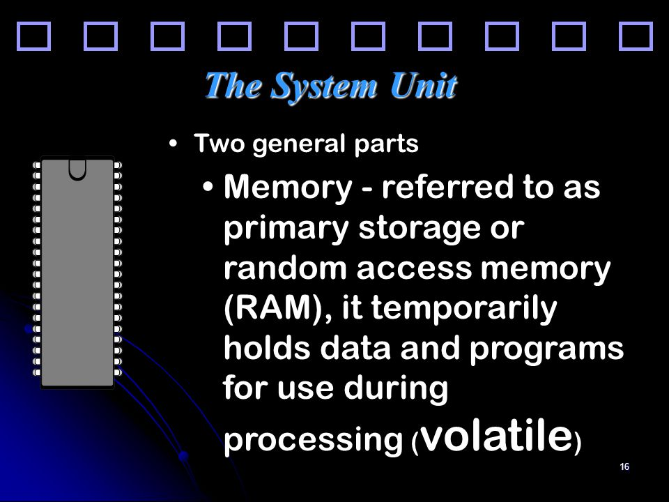 16 The System Unit Two general parts Memory - referred to as primary storage or random access memory (RAM), it temporarily holds data and programs for use during processing ( volatile )