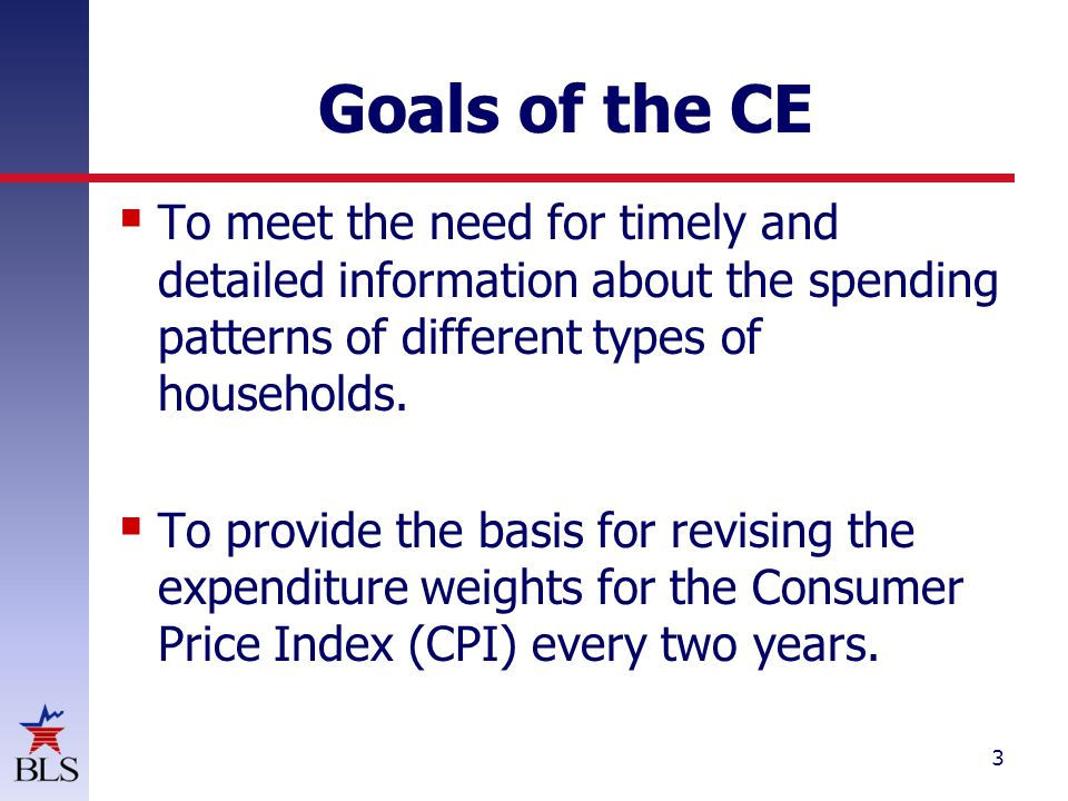 3 Goals of the CE  To meet the need for timely and detailed information about the spending patterns of different types of households.