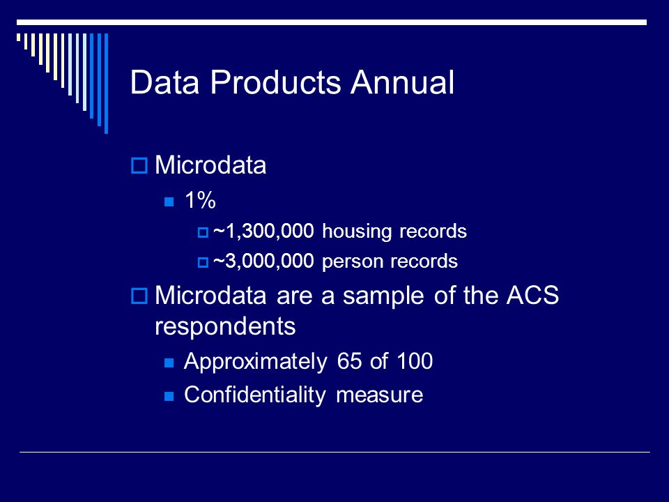 Data Products Annual  Microdata 1%  ~1,300,000 housing records  ~3,000,000 person records  Microdata are a sample of the ACS respondents Approximately 65 of 100 Confidentiality measure