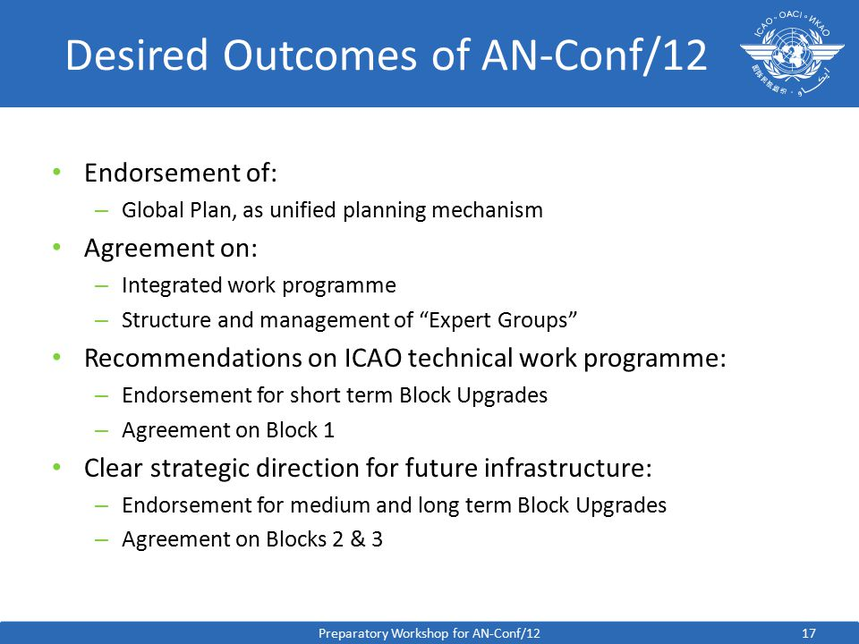 17 Desired Outcomes of AN-Conf/12 Endorsement of: – Global Plan, as unified planning mechanism Agreement on: – Integrated work programme – Structure and management of Expert Groups Recommendations on ICAO technical work programme: – Endorsement for short term Block Upgrades – Agreement on Block 1 Clear strategic direction for future infrastructure: – Endorsement for medium and long term Block Upgrades – Agreement on Blocks 2 & 3 Preparatory Workshop for AN-Conf/12