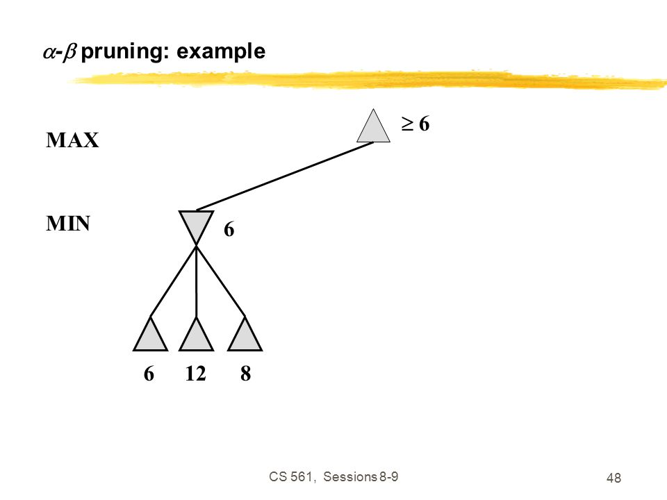 CS 561, Sessions  -  pruning: example  6 6 MAX 6128 MIN