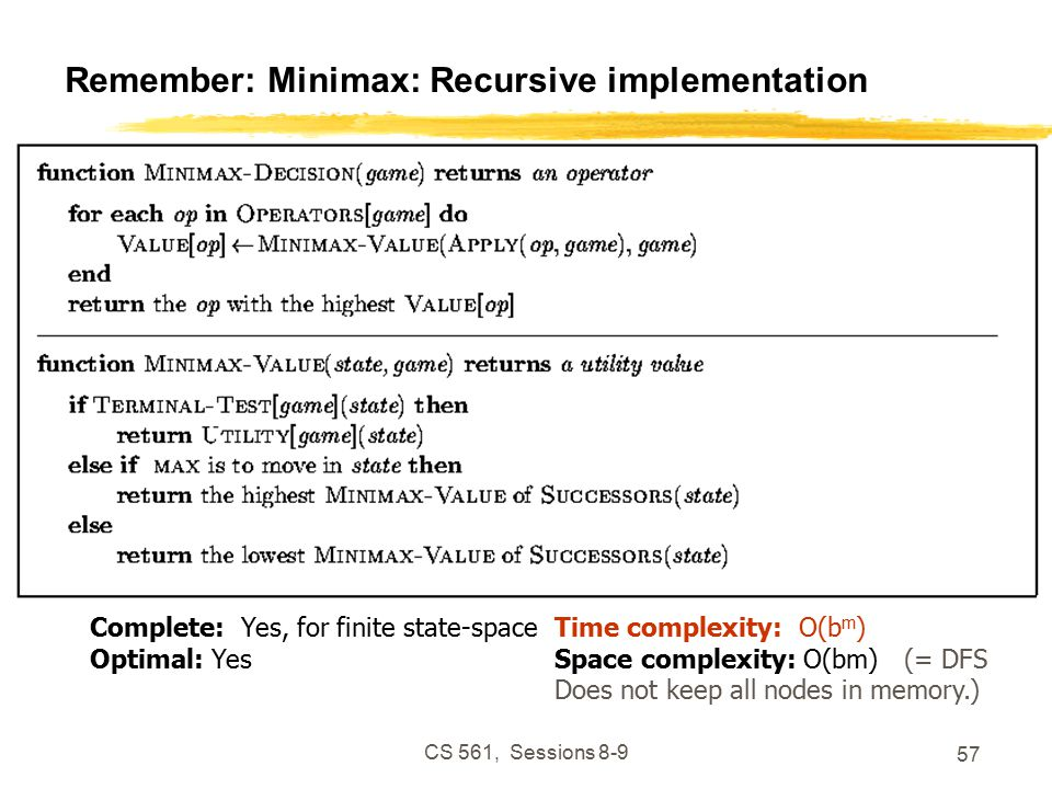 CS 561, Sessions Remember: Minimax: Recursive implementation Complete: Yes, for finite state-space Optimal: Yes Time complexity: O(b m ) Space complexity: O(bm) (= DFS Does not keep all nodes in memory.)